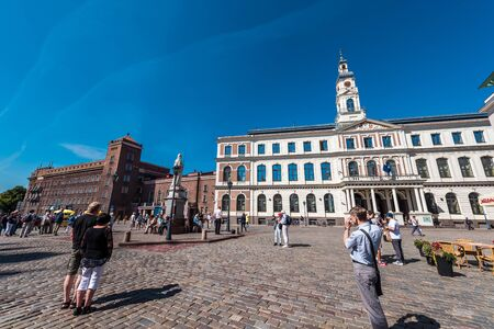 town hall square: Riga, Latvia- August 20, 2015: Exterior of Riga City Council, located in the historic center of Riga at Town Hall Square Ratslaukums