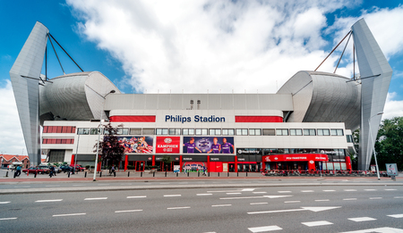 Eindhoven, Netherlands- May 24, 2015: Exterior of The Philips Stadion. It is a football stadium, with a capacity of 35,000, it is the third-largest football stadium in the country. The Philips Stadion currently holds a four-star rating by UEFA. The offici