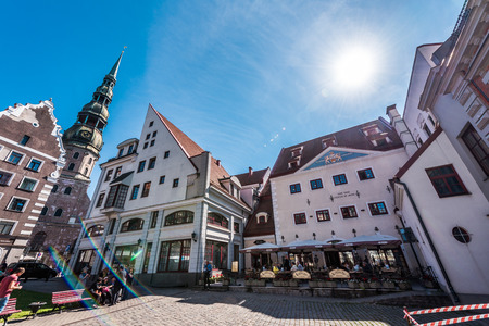town hall square: Riga, Latvia- August 20, 2015: Day view of the Town Hall Square. The most famous and the most beautiful place in Riga. Latvia