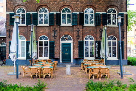 eindhoven: Eindhoven, Netherlands - May 24, 2015: Typical outdoor restaurant at Eindhoven city. Netherlands