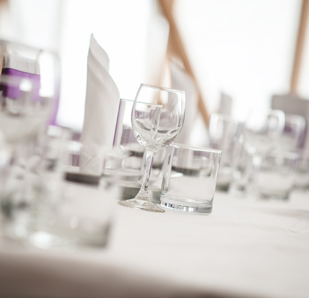 banquet table: Banquet table. Close-up of empty glasses. Selective focus Stock Photo