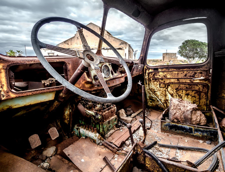 abandoned: Inside of old and rusty truck cab Stock Photo