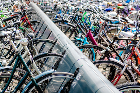 Bicycle parking area in Eindhoven bus central station. Netherlands