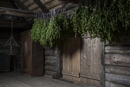 bathhouse: Birch broom inside of a steam room