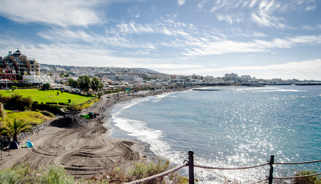 adeje: View of the Fanabe beach in Costa Adeje. Tenerife. Canary Islands. Spain