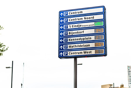 eindhoven: Eindhoven, Netherlands- May 25, 2015: Street sign of free parking places in the Eindhoven city center. Netherlands
