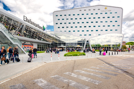 eindhoven: Eindhoven, Netherlands- May 26, 2015: Crowd of people at Eindhoven airport