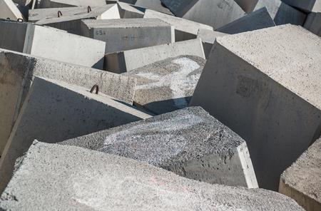 breakwater: Breakwater. Concrete blocks close-up