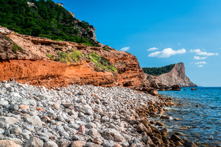 falco: Experimental Beach in Cap Des Falco in Ibiza. Balearic Islands. Spain