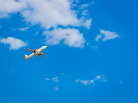 aeroplanes: Airplane in the blue sky. Departure from Ibiza airport