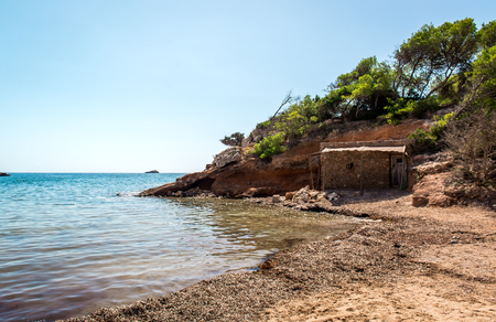 Nudist beach. Ibiza. Balearic Islands, Spain Stock Photo