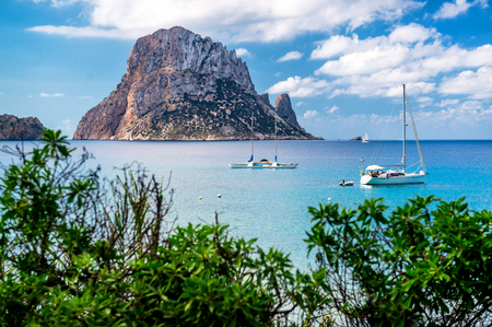 Picturesque view of the mysterious island of Es Vedra. Ibiza, Balearic Islands. Spain Stock Photo
