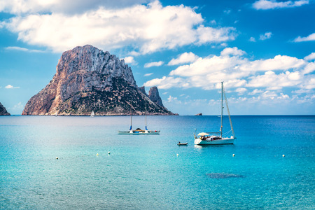 island: Picturesque view of the mysterious island of Es Vedra. Ibiza, Balearic Islands. Spain Stock Photo