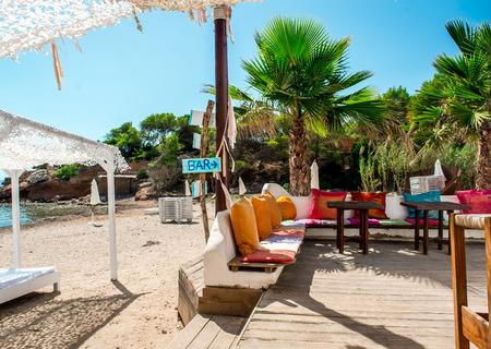 Outdoor bar on the beach of Ibiza. Balearic Islands. Spain