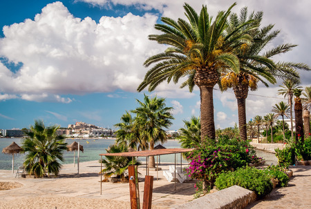 promenade: Seafront promenade of Ibiza. Balearic Islands. Spain