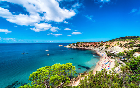 Picturesque Cala dHort beach. Ibiza, Balearic Islands. Spain