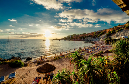 Cala d'Hort Beach at sunset. Balearic Islands. Ibiza 스톡 콘텐츠
