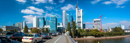 river main: Frankfurt am Main, Germany- September 24, 2013: Panoramic view to Frankfurt am Main downtown during the traffic jam. Frankfurt am Main is a dynamic and international financial and trade city with the most imposing skyline in Germany.