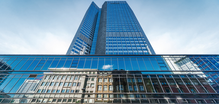 architectural feature: Frankfurt am Main, Germany- September 24, 2013: Skyscraper of Frankfurt am Main. Frankfurt am Main is a dynamic and international financial and trade city with the most imposing skyline in Germany. Editorial