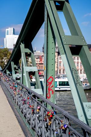 affixed: Love locks on the Iron Bridge in Frankfurt am Main, Germany Editorial