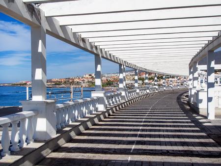 seafront: Seafront promenade along Las Americas beach. Tenerife, Canary Islands. Spain