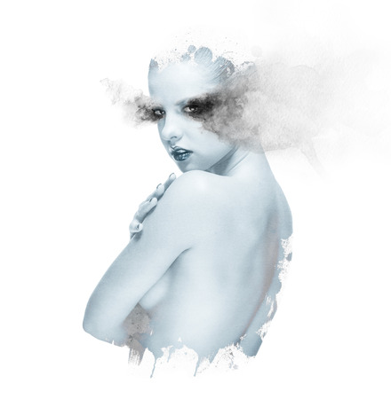 topless women: Double exposure of a beautiful young woman combined with watercolor elements. Toned image Stock Photo
