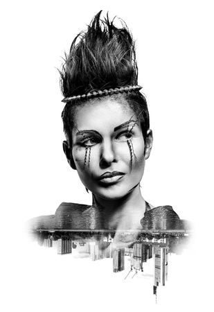black makeup: Double exposure of a woman with creative make-up and city skyscrapers isolated on white background. Toned image Stock Photo
