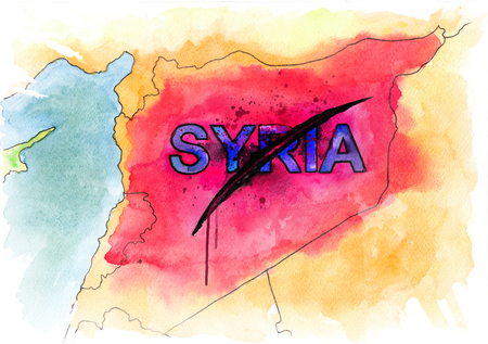 area of conflict: Map of Syria. Conceptual watercolor illustration