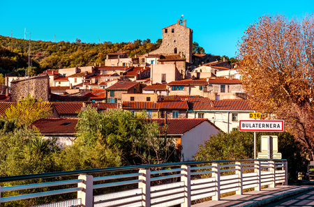 the medieval: Bulaternera Bouleternre, hillside french village. Bulaternera is a commune in the Pyrenees-Orientales department in southern France