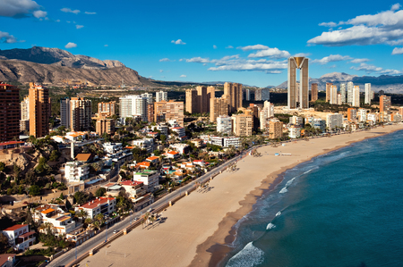 costa blanca: Coastline of a Benidorm city. Benidorm is a modern resort city, one of the most popular travel destinations in Spain. Costa Blanca, Alicante Stock Photo