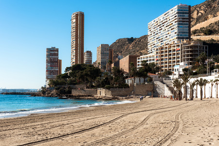 costa blanca: Alicante, Spain- January 8, 2016: Small and lovely Albufereta beach. This is one of the most popular holiday spot amongst local people of Alicante. Costa Blanca. Spain Editorial