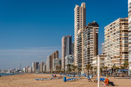 coastal city: Benidorm, Spain - December 20, 2015: Beach of Benidorm. Benidorm is a coastal city in Alicante. Benidorm is a major beach destination for European tourism. Spain Editorial
