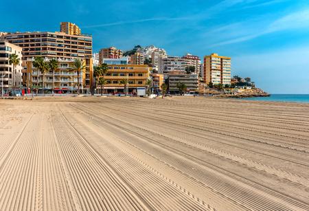 costa blanca: Empty beach of Finestrat in Benidorm. Alicante, Spain