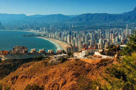 costa blanca: Benidorm cityscape. Benidorm is a coastal city in Alicante, Costa Blanca. Spain Stock Photo