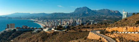 coastal city: Panoramic view to the Benidorm city. Benidorm is a coastal city in Alicante, Costa Blanca. Spain