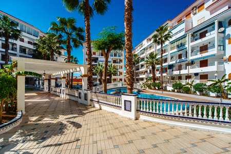 spanish houses: Typical spanish residential houses with a swimming pool.  Alicante province, Spain Stock Photo