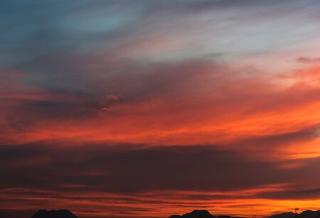 red sky: Beautiful bright sunset. Cloudy sky. Orange, red, gray and blue colors Stock Photo