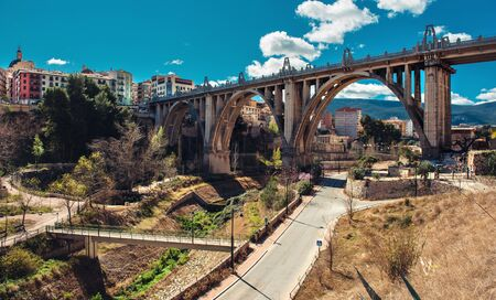 province: San Jordi Bridge, Art Deco style, one of the most famous bridge in Alcoy city.  The city is known as city of bridges. Province of Alicante, Spain