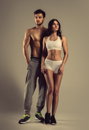 Young athletic man and woman Stock Photo