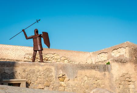 costa blanca: The rusty knight in the Santa Barbara castle. Alicante, Costa Blanca. Spain
