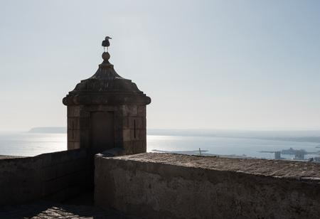 santa barbara: Turret and seagull against sea and blue sky background. Castle of Santa Barbara in Alicante city. Spain