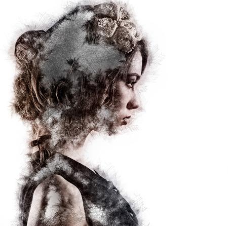 Profiel van een vrouw. Afbeelding met een digitale gevolgen Stockfoto