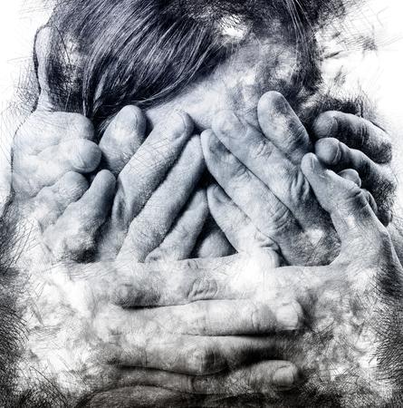 See no Evil, Hear no Evil, Speak no Evil, close-up portrait. Digitally generated image, black and white photo