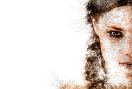 Half gezicht van een jonge vrouw. Afbeelding met een digitale gevolgen
