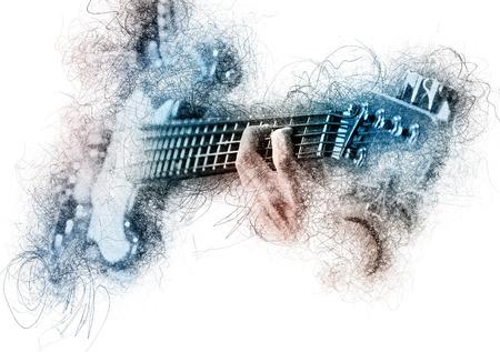 男はギターを演奏します。デジタル効果イメージ 写真素材
