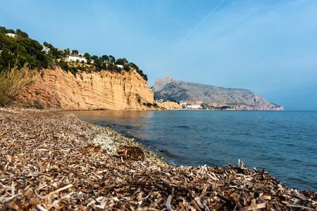 nudist: Solsida nudist beach near town of Altea. Costa Blanca. Spain Stock Photo