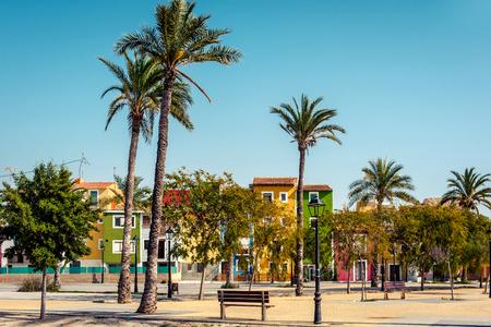 spanish village: Multicolored houses of Villajoyosa  La Vila Joiosa town. Coastal town of Costa Blanca. Province of Alicante, Valencian Community, Spain Stock Photo