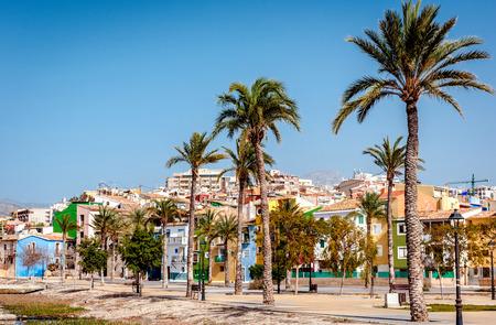 coastal: Multicolored houses of Villajoyosa  La Vila Joiosa town. Coastal town of Costa Blanca. Province of Alicante, Valencian Community, Spain Stock Photo
