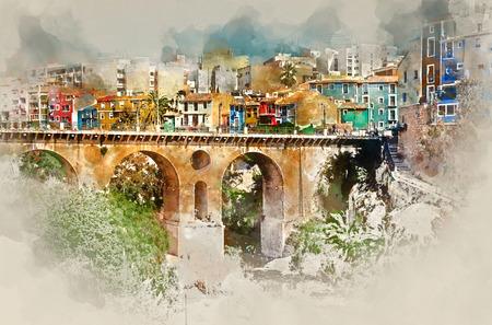 watercolor painting: Digital watercolor painting of Villajoyosa  La Vila Joiosa town. Costa Blanca. Province of Alicante, Valencian Community, Spain