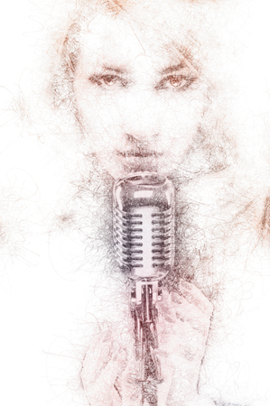 altered: Pencil drawing of a beautiful woman with a microphone. Digitally generated image
